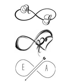 Best Designs Infinity Tattoos Symbols and their meanings Unique Infinity Tattoo, Infinity Name Tattoo, Infinity Couple Tattoos, Infinity Tattoo Designs, Couples Tattoo Designs, Elegant Tattoos, Unique Tattoos, Small Tattoos, Symbols And Meanings