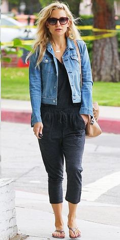 23 Ways to Style a Denim Jacket, Inspired by the Stars | InStyle.com Kate Hudson's chic laidback uniform consists of a casual gray drawstring jumpsuit and a classic true-blue jean jacket.