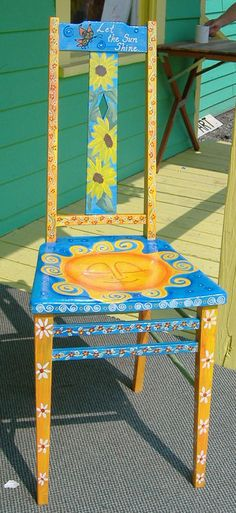 Painted furniture: blue and yellow chair. The Starving Artist Painted furniture: blue and yellow cha Whimsical Painted Furniture, Hand Painted Chairs, Hand Painted Furniture, Funky Furniture, Colorful Furniture, Art Furniture, Furniture Projects, Furniture Makeover, Repurposed Furniture