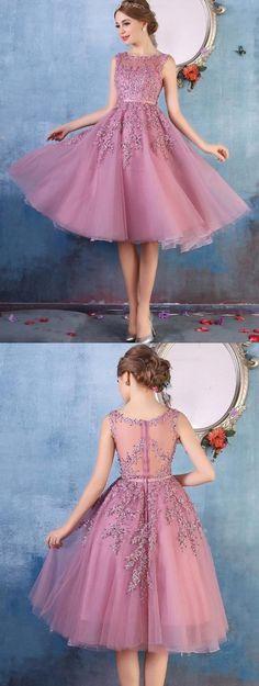 $79-Amazing Lace Appliques Beaded Tea Length A-line Party Dresses
