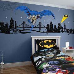 Beautiful wall decal of Batman with Cityscape. Perfect for boys' bedroom. Cool Decor!