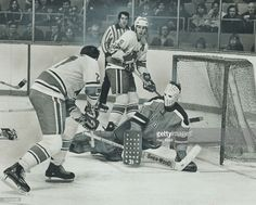 San Diego Mariners' goalie Ernie Wakely didn't get down in time to prevent Frank Mahovlich (27) of Toros from jabbing power play goal into net during Toros' 6-4 World Hockey Association Victory last night. No. 9 for Toros is Wayne Dillon who combined with Jim Turkiewicz to set up Big M's second goal of game and 30th in first WHA season. It was winner as Toros ended three-game losing streak.