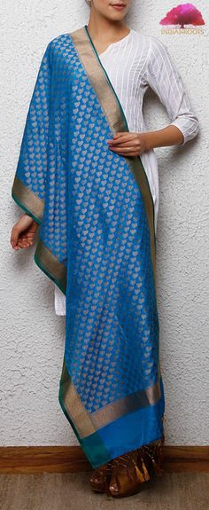 Blue handwoven Banarasi pure silk stole with zari work by the IR Studio on Indianroots.com