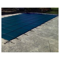 WaterWarden Safety Pool Cover for 12' x 27' In Ground Pool - Blue Solid with Center Drain Panel
