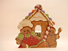 Gingerbread House Candle Holder by ByBrendasHand on Etsy Design by Renee Mullins. Available at:Etsy: ByBrenda'sHand Facebook: Cherished Attic Treasures