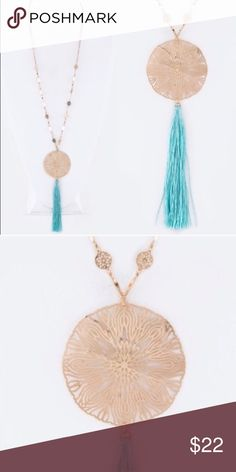 Gold Lacey Tassel necklace Gorgeous Gold Lacey Tassel necklace is more beautiful in person. Sold fast at my last pop up shop! Grab it quick! Open to offers. No trades. Jewelry Necklaces