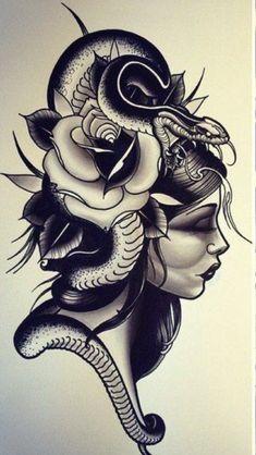 Find the perfect tattoo artist to create the work of art that is you Neo Tattoo, Medusa Tattoo, Tattoo Old School, Tattoo Sketches, Tattoo Drawings, Rose Tattoos, Girl Tattoos, Japanese Snake Tattoo, Tatuaje Old School