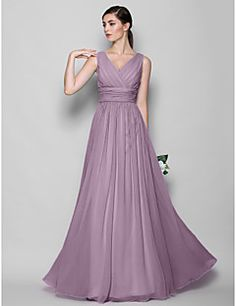 LAN+TING+BRIDE+Floor-length+Georgette+Bridesmaid+Dress+-+A-line+/+Sheath+/+Column+V-neck+Plus+Size+/+Petite++–+USD+$+255.00