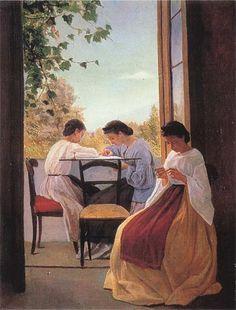 """Adriano Cecioni, """"Le ricamatrici"""", realizzato nel 1866, mostra uno scorcio di vita quotidiana in cui appaiono tre giovani donne nell'atto del ricamo."""