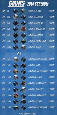 NFL - NFC Giants Schedule