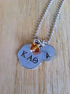 Another idea to Pledge your loyalty with Jewel Kade's hand-stamped pewter tags! 24 Sororities to choose from.      www.jewelkade.com/NatalieR  #Alpha #Chi #Omega #Delta #Pi #Epilson #Phi #Gamma #Omicron #Sigma #Xi #Zeta #Beta #Kappa #Theta #Mu #Tau #greek #letters #sorority