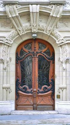 Art Nouveau door in a courtyard of Square ~ France
