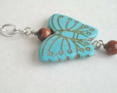 Handmade Turquoise Blue Stone Butterfly Keychain , Light Blue Magnesite Goldstone Key Ring , Hippie Key Chain