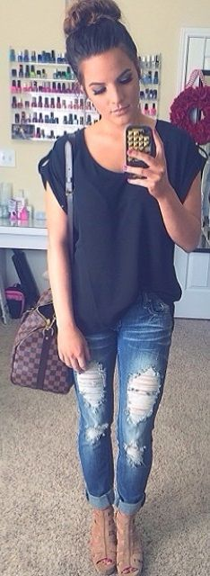 casual, yet a matured version of ripped jeans and a t-shirt
