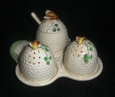 OCCUPIED JAPAN 6 PIECE BEE HIVE SHAPED  CONDIMENT SET