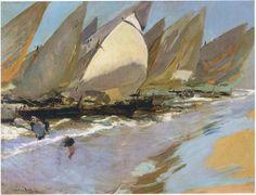 Fishing Boats, Oil On Canvas by Joaquin Sorolla Y Bastida (1863-1923, Spain)