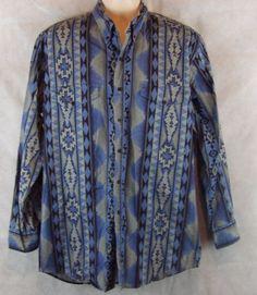 Roper Aztec Blues Button Up LS Size XL 17-1/2 34/35 USA made 100% cotton #Roper #ButtonFront