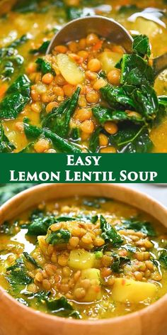 Lentil Soup Recipes, Tasty Vegetarian Recipes, Easy Soup Recipes, Vegetable Recipes, Healthy Lentil Soup, Lemon Lentil Soup Recipe, Cooking Recipes, Healthy Recipes, Lemon Soup