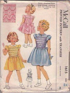 MOMSPatterns Vintage Sewing Patterns - McCall's 1615 Vintage 50's Sewing Pattern BRILLIANT Girls Fancy Smocked Party Dress, Tie Back Sash, Zig Zag Smocking Transfer Size 8