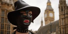 woman wears mask to porn protest outside parliament -Cosmopolitan.co.uk Yaay, Synth!