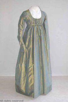 Dress: ca. 1800-1810, silk, linen. OPEN FASHION ID 32032