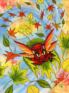 Autumn Winds Fairy Cat, Red Fairy Cat, Fall Leaves, Art Print Tigerpixie Fantasy Cat Art by Carrie Hawks Large Prints, Framed Prints, Cat Shower Curtain, Autumn Fairy, Curtains For Sale, Hawks, Cat Art, Carrie, My Images