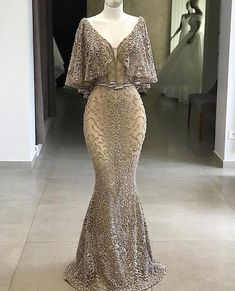 2019 Deep V-Neck Long Evening Dress Luxury Customized Beading Tulle Long Sleeve Mermaid Party Long Dress Formal Robe De Soiree Evening Dresses, Prom Dresses, Formal Dresses, Pageant Gowns, Dress Prom, Dress Wedding, Elegant Dresses, Pretty Dresses, Glamorous Dresses