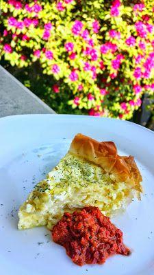 Balkan Cheese Pie, or Burek, here with Adjika Sauce - recipe for both on http://pechluck.com