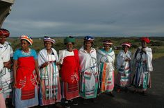 A group of old Xhosa women wearing cultural clothes signifying their age
