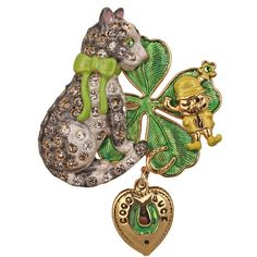 50) Malcolm The Cat And The Leprechaun Pin/Pendant http://kirksfollystore.com/pins-and-brooches/malcolm-the-cat-and-the-leprechaun-pin/pendant/