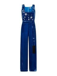 This bourgeois velvet jumpsuit in Sapphire has been hand embroidered with an intricate celestial motif and designed with a fun fringed detachable belt. Velvet Jumpsuit, Fashion Editor, Blue Velvet, Jumpsuits For Women, Fit And Flare, Bodice, Trousers, Vogue, Sewing Ideas