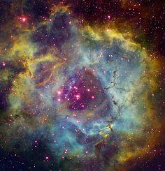Space Art - Rosette nebula NGC 2244 in Monoceros Wall Art by Filipe Alves from Great BIG Canvas. Helix Nebula, Orion Nebula, Carina Nebula, Andromeda Galaxy, Planetary Nebula, Cosmos, Nebula Wallpaper, Hubble Images, Hubble Pictures