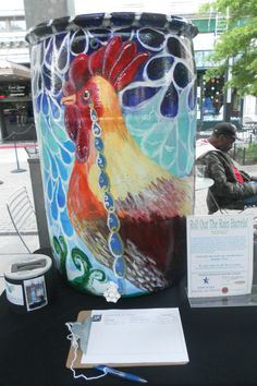 "This is my rain barrel design, ""When Roosters Cry"" that I painted with acrylic paint for bluegrass greensource.  It was for their ""Roll out the rain barrels"" campaign.  Which I won for the most votes in an online contest.  Third year in a row. http://www.bggreensource.org/"