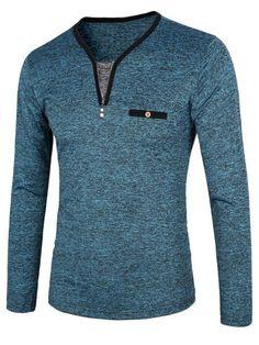 e07e4dfc BLUE Zippered Contrast Trim Pocket Space Dye T-Shirt M Casual Wear For Men,