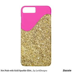 Hot Pink with Gold Sparkle Glitter Texture iPhone 7 Plus Case