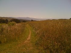 Trail, in the distance is Half Moon Bay and the Pacific Ocean - Moss Beach, CA