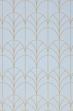Delicate Art Deco arches in a shimmering pearlescent gold emerge from a subtle blue background. Wallpaper Art Deco, Luxury Wallpaper, Gold Wallpaper, Designer Wallpaper, Pattern Wallpaper, Motif Art Deco, Art Deco Pattern, Art Deco Design, Art Deco Wall Art