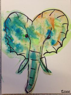 Watercolour and ink elephant