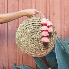 Brunna Luna Bag - Round Straw Tote Bag with Pink Tassels