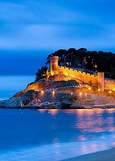 Walls of Vila Vella in Tossa de Mar at dusk (Costa Brava) Catalonia.
