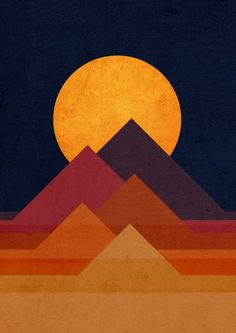 The pyramids, in real life, are three dimensional. This piece presents two dimensional, geometric shapes that combine together to make the appearance of the pyramids and the sunset behind them. Arte Pop, Graphic Prints, Graphic Design Art, Modern Art, Pop Art, Art Projects, Art Drawings, Canvas Art, Illustration Art