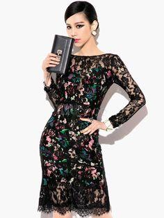 Mangas compridas impresso Scoop pescoço cortado vestido de festa preto sem costas