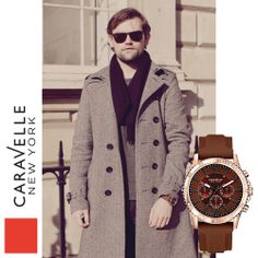 Richard is wearing our Rose & Mocha 44A102 watch. #Caravelle #RoseGold #Brown #Menswear #Fashion #LFW #Style #Watch #Watches