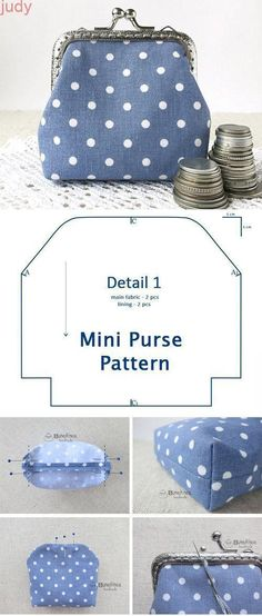 DIY Clasp Coin Mini Purse Tutorial The Mini Purse is a practical work . - DIY Clasp Coin Mini Purse Tutorial The Mini Purse is a practical tool that you can keep under your - Coin Purse Tutorial, Pouch Tutorial, Diy Coin Purse Pattern, Backpack Pattern, Wallet Pattern, Bag Patterns To Sew, Sewing Patterns Free, Free Sewing, Free Pattern