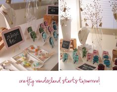 The tiny chalk board signs in this craft booth are sweet.  Could make with picture frames, scrapbook paper and dry erase markers too!