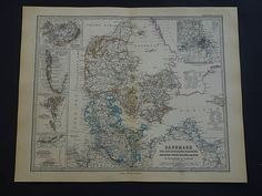 1877 DENMARK old map of Denmark antique English map Copenhagen
