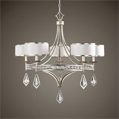Tamworth 5 Light Chandelier Uttermost in Chandeliers. Burnished silver champagne leaf finish with modern clear crystal accents highlight this majestic chandelier along with silken off white hardback shades. Hanging Chandelier, 5 Light Chandelier, Chandelier Ideas, Pendant Lighting, Uttermost Lighting, Art Nouveau, Transitional Decor, Transitional Kitchen, Tamworth