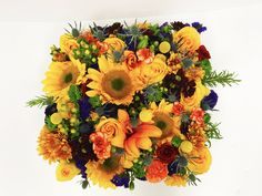 Fall bold colored flowers in a box Fall Flowers, Flower Boxes, Floral Wreath, Wreaths, Chic, Rose, Color, Ideas, Window Boxes