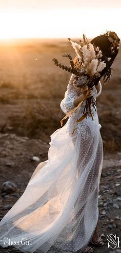 Bohemian bridal shower dress long sleeve 42 Ideas for 2019 Rustic Wedding Gowns, Western Wedding Dresses, Long Wedding Dresses, Boho Wedding Dress, Budget Wedding, Wedding Ideas, Polka Dot Wedding Dress, Boho Bride, Romantic Weddings