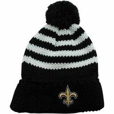 New Era New Orleans Saints Ladies Chunky Stripe Knit Ski Hat - Black/White